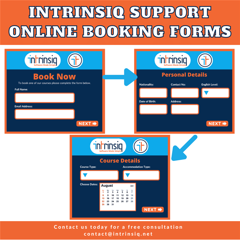 Intrinsiq Support: Online Booking Forms