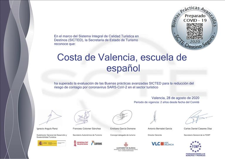 Costa de Valencia Spanish school receives certification that guarantees that the school has all the necessary practices to protect it students and staff from Covid19.